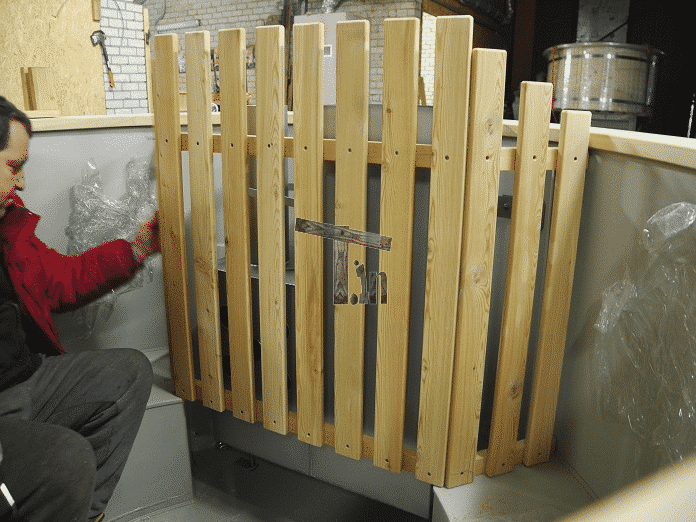 Wooden guard for the hot tub heater 1