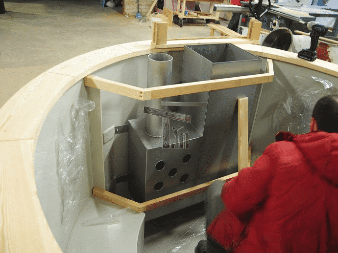 Wooden guard for the hot tub heater 2